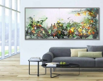 "Flower Abstract Art Large Wall Art Wall Decor Art Modern Home Decor Huge 27x71""/70x180cm Large Painting"