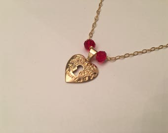 SALE 18k gold layered necklace with heart pendant