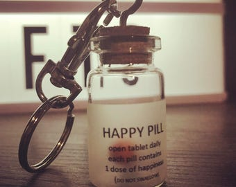 Happy Pill Keychain