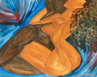 Hand Painted Acrylic Painting on Canvas, Erotic Art, Canvas Art, Neurtal, Brown, Blue