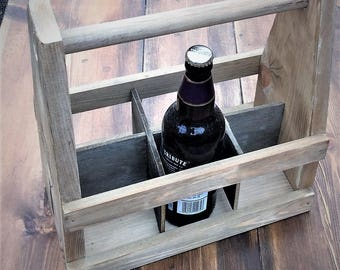 Wooden 6 bottle beer carrier personalised