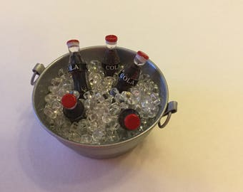 Fairy Garden Dollhouse Miniature Bucket of Ice Cold Drinks