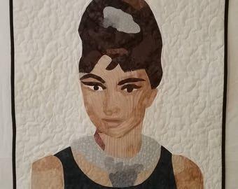 Audrey Hepburn art quilt