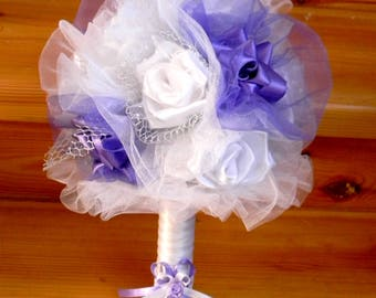 Bridal Bouquet\Wedding Bouquets\White Satin Embellished with PURPLE Rosebuds