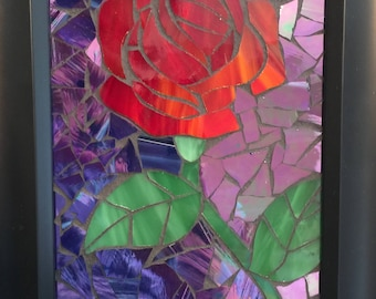 Red Rose-Stained Glass Mosaic-
