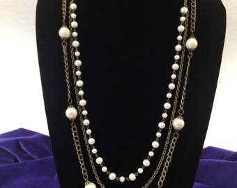 Vintage Talbots 30 Inch , Pearl and Chain,Three Strand Necklace