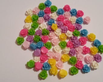 Resin Rose cabochons Assorted Colours 10mm x 6.5mm Flat Backed 50 Pieces