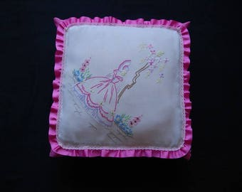 Vintage Embroidered Fabric Frilled Cushion Handmade