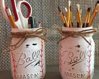 Hand painted baseball mason jar