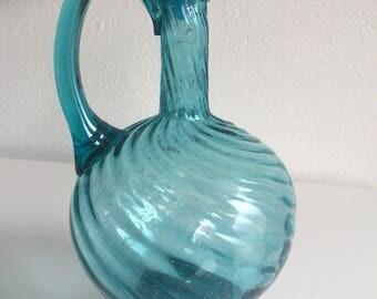 vintage Hermanos Avalos aqua swirl pitcher with stopper