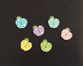 Wooden Apple Shaped Buttons, Apple, Set Of 6 Buttons, Wooden Buttons,  Embellishments, DIY Supply, Decoration, Card Making, Craft Supplies