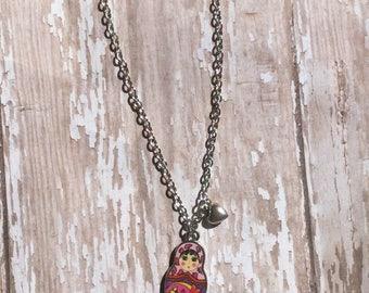 Russian doll babushka necklace