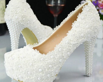 White Flower Lace And Pearl High Heel Wedding Shoe
