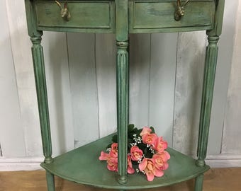 Hand painted, hare-themed corner table with original artwork