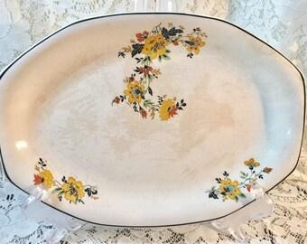 Vintage Homer Laughlin Oval Platter - Yellow Flowers Black Leaves