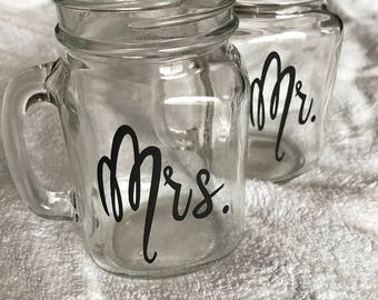 Personalized mason jar mug set