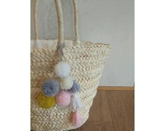 Pompom tassel bag charm,pom pom, beach bag pompom, wool pompom, nappy bag charm, boho