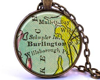 Burlington, Vermont Map Pendant Necklace - Created from a vintage map published in 1903.