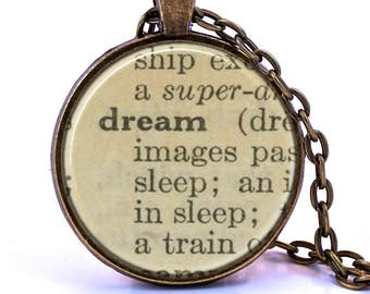 Dream Dictionary Pendant Necklace, Birthday Gift, Graduation Gift, Going Away Gift, Bridesmaid Gift, Definition Necklace
