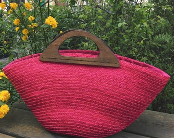 Hez Berlin – 70s Women's Pink Straw Woven Basket Bag Vintage Market Bag Women's Vintage Tote Fashion Accessorie  European Fashion