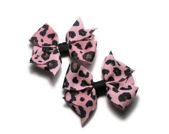 Pink Hair Bows // Leopard Print Hair Bow Set // Girls Hair Bows // Hair Bows for Toddlers // Hair Clips for Girls