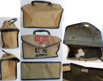 vintage 1960s GIJOE Child Size Oilcloth (Canvas & Vinyl) U.S. ARMY Lunch Bag/Box