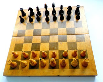 Russian Vintage Wooden chess set Retro chess pieces Soviet chessboard Old chess Wooden chess game Russian souvenir Chess USSR Chess figures