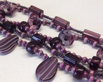 Purple Czech Glass Bracelet/ Purple Hand Made Bracelet/Spring Jewelry/Summer Glass Jeverly/Purple Czech Glass Bracelet