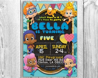 Bubble Guppies Invitation, 5x7 / 4x6 Bubble Guppies Chalkboard, Bubble Guppies Invite, Bubble Guppies Birthday Card Printable