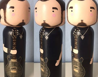 Customized Mark Tremonti - Alter Bridge peg doll, wood doll, Kokeshi doll,  maple wood, hand painted, perfect gift, home decor, fanart
