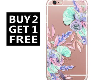 Clear Rubber Case, iPhone 6 Case, iPhone 6s Case, iPhone Case, iPhone 6 Plus Case, iPhone 7 Case, iPhone 7 Plus Case,Galaxy Cases,Floral 19