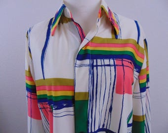 Vintage 80s L. Magnin Alexander Shields Womens Long Sleeve Abstract Art Button Front Shirt Blouse