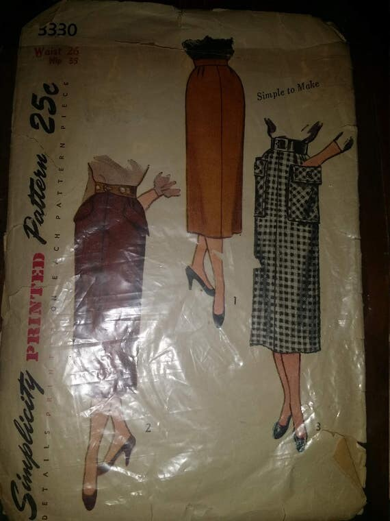 1950s Slim Straight Skirt Pattern SIMPLICITY 3330 Three Style Versions Includes Interesting Pocket Styles Waist 26 Vintage Sewing Pattern
