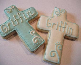 Baptism cross cookies with name   Baby Christening   Custom decorated cookie favors