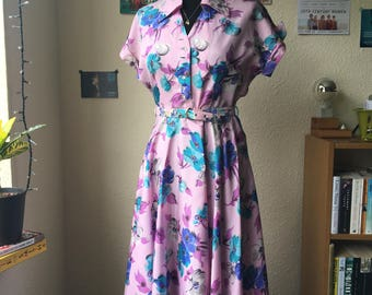 Late 1940s Beautiful Pink and Blue Flower Tea Dress