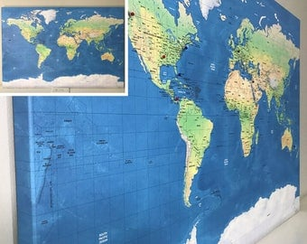 Graduation Sign Relief World Map Detailed 24x36 or 30x40 Labeled World Push Pin Map Mounting Options Free Shipping