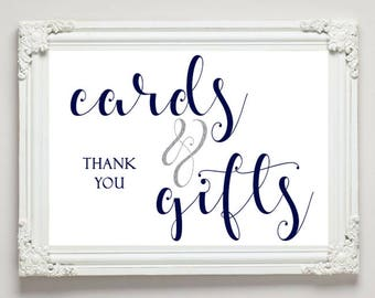 Cards & Gifts Sign, Navy and White, Wedding Sign, Party Sign, Gift Table