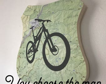 Mountain Bike Plaque, National Forest Map, Pisgah National Forest, Mountain Bike