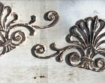Vintage Cast Iron Scroll Accent Piece (Set of 2)