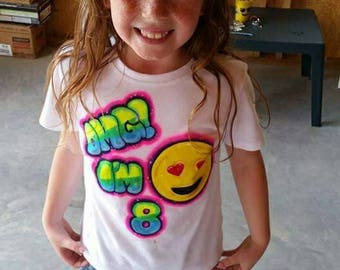 Airbrushed emoji tshirt,custom emoji tshirt,custom birthday tshirt, tshirt,personalized tshirt,airbrush,custom shirt,birthday emoji,custom t