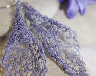 Large Wire Crocheted Lavender Lightweight Dangle Earrings