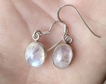 Beautiful Moonstone Drop Earrings Set in Sterling Silver