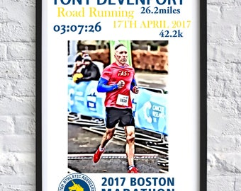 Boston Marathon Running Print A4 Personalised Personalized Gift Runner Race Bibs
