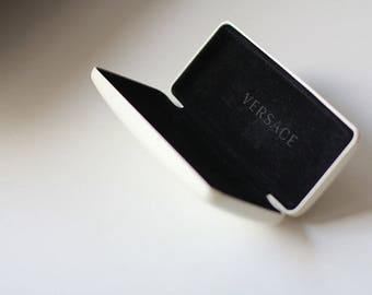 Versace Glasses Case White Leather Vintage Box for Glasses