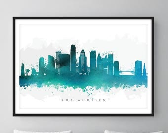 Los Angeles Skyline, Los Angeles California Cityscape, Wall Art, Art Print Watercolor [SWLAX07]