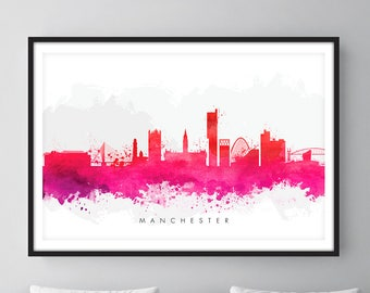 Manchester Skyline, Manchester England Cityscape England, Art Print, Wall Art, Watercolor, Watercolour Art Decor [SWMAN09]