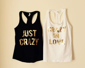 8 Crazy in Love +FREEBride Feyonce Tank Tops V Neck t-shirt Gold Metallic Print Bridesmaid Maid of Honor  Bachelorette Party Shirts