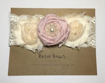Shabby Chic Triple Flower Pearl & Lace Headband