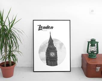 Big Ben London Poster (Travel Poster,Modern Wall Art Prints,London Printable Art,Printables,Digital Prints,Poster,Big Ben Digital Download)