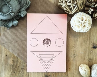 Light Peach Art Card, No Specific Occasion, Quirky Original Art Designs, Recycled Card
